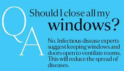 Coronavirus: Keeping windows open will reduce the spread of diseases.